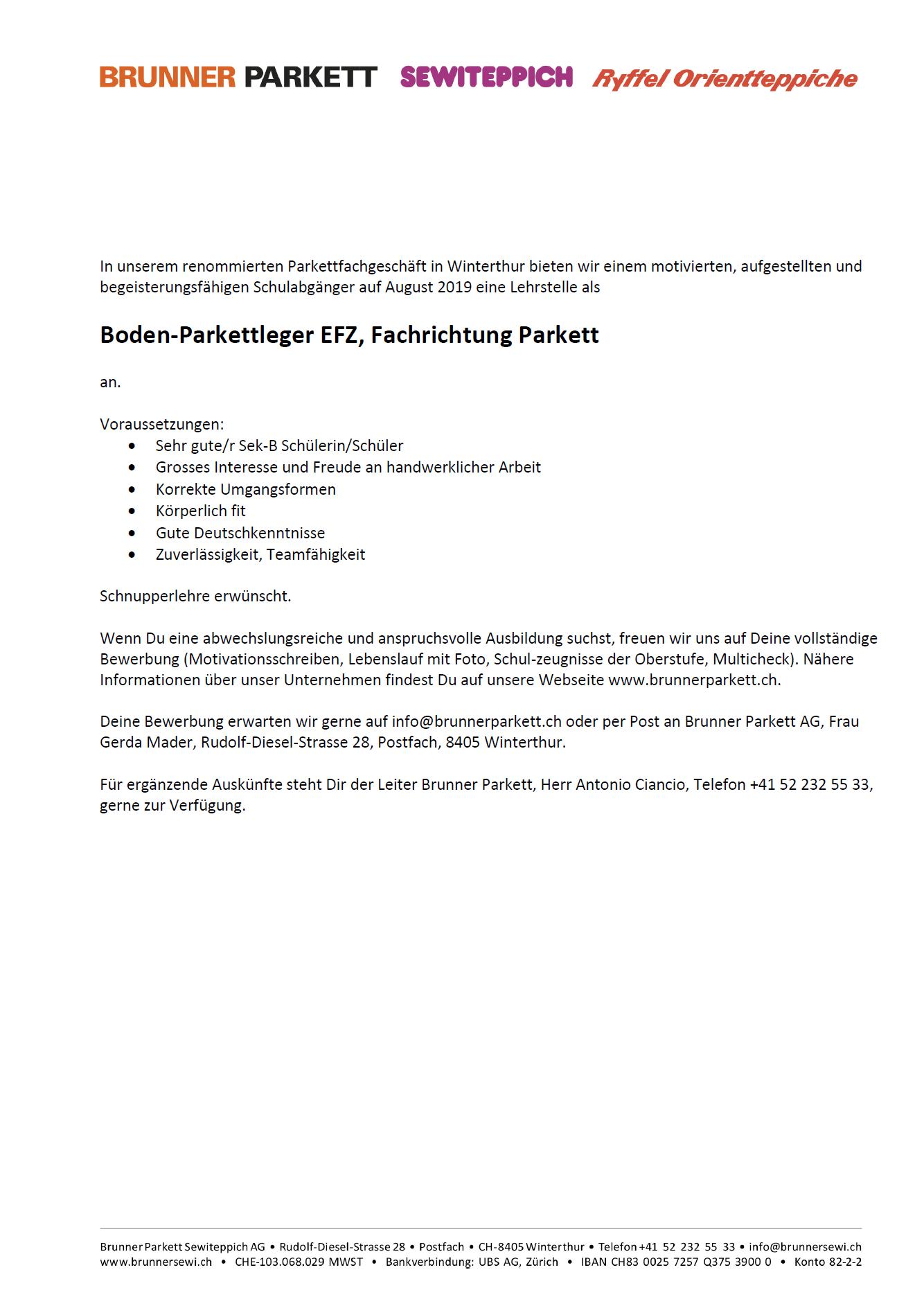 Boden-Parkettleger EFZ
